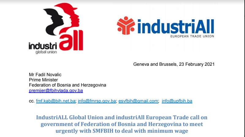 "IndustriALL Global Union and industriAll European Trade           ""Pismo premijeru-Bosne i Hercegovine"""